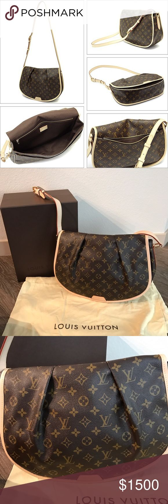 Louis Vuitton Menilmontant mm messenger bag NIB Brand new 100% authentic with storing bag and box  perfect condition this bag came in two sizes this is the larger size of the two retailed at $1,700 no longer being sold in stores cross-body bag is crafted of Louis Vuitton monogram on coated toile canvas. The bag features a vachetta cowhide adjustable cross-body strap with a brass buckle and links, flat exterior pocket on the back, and an attractive full crossover flap with stylish pleats…