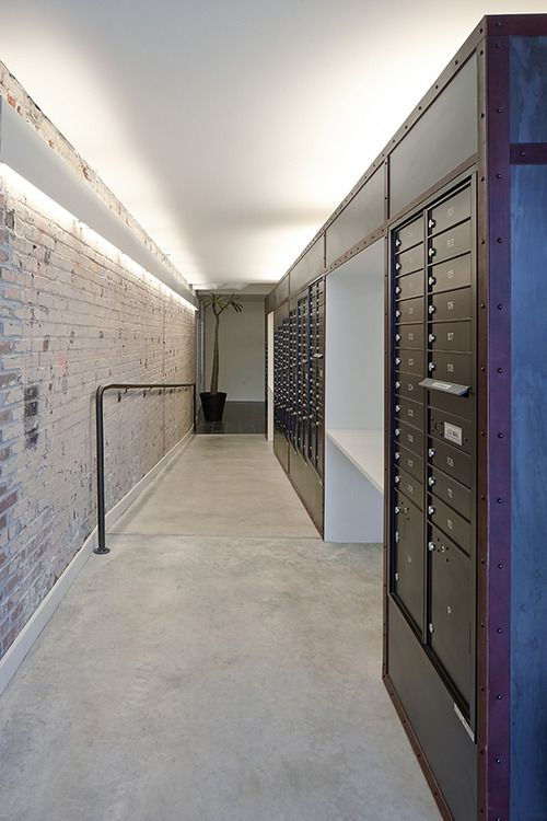 Modern Mail Room With Metal And Brick Rooms Apartment Entrance