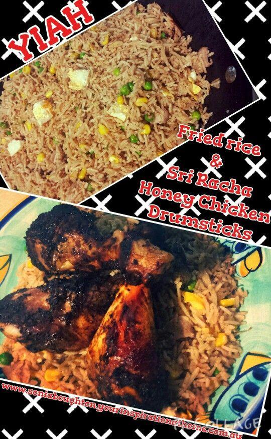 YIAH Fried rice and Sri Racha Honey Chicken Drumsticks