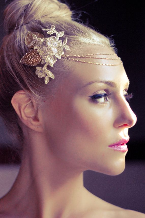 Bohemian Bridal Halo Head Piece Wedding Headdress by veiledbeauty, $255.00