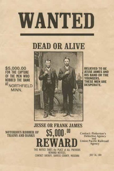 Jesse James' first train robbery was July 21, 1873 near Adair, Iowa. The engine, tender, and baggage cars were derailed and the engineer killed. Jesse and his brother Frank, approached the expressman with cocked 44's. The James-Younger gang rode off with nearly $3,000—worth about $51,000 today.