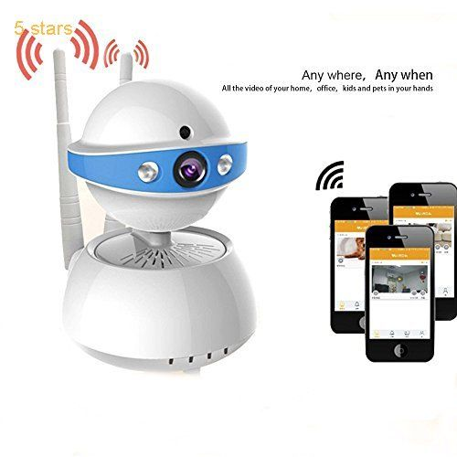 POWERIVER Wireless Wifi IP Security Camera 720P Home Surveillance System Camera Two Way Audio and Night Vision for Baby Monitor (Blue)