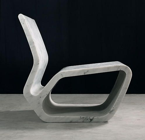 "Extruded Chair 2006 Marc Newson, white carrara marble, 27.5""x23.5""x28.25"""