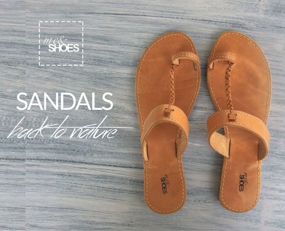 Handmade leather flat sandalsnatural color leather by meandbags
