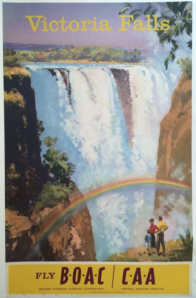 Original Travel Poster Victoria Falls BOAC Rhodesia Zimbabwe Africa Wootton RARE #Vintage