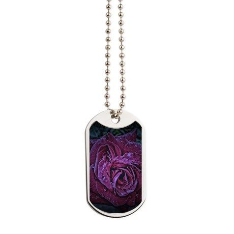Purple Rose Dog Tags by AngelEowyn. $22.50