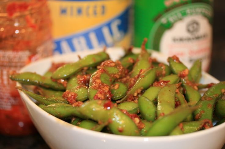Subtract the chili and you've got Garlic Edamame like my favorite sushi place does it!