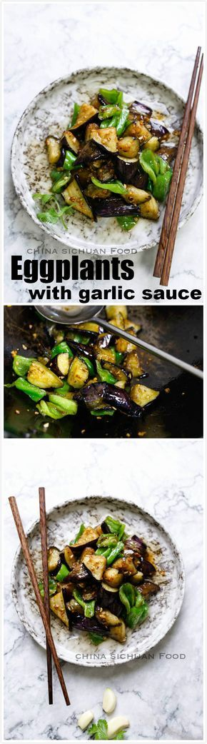 Eggplants with garlic sauce, possible is the yummiest eggplant dish.