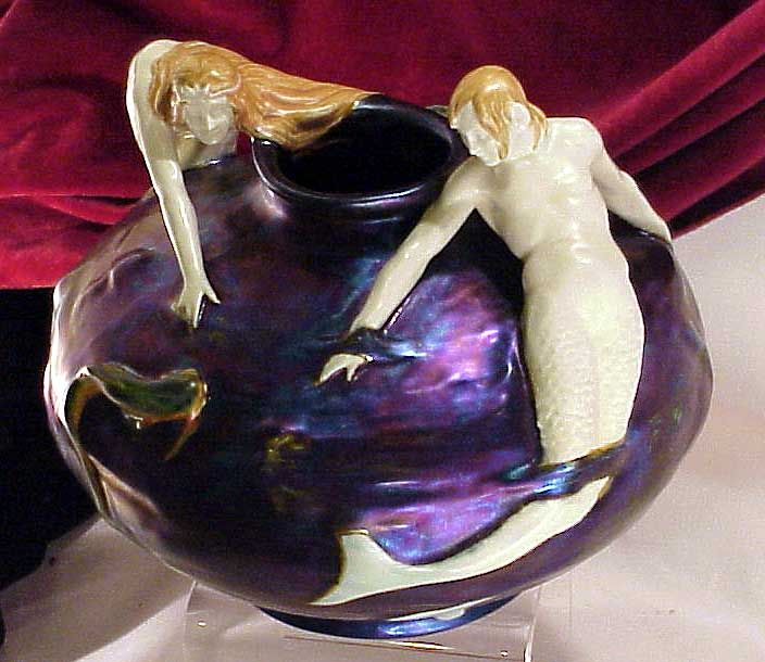 A Lajos Mack Design of a Mermaid and a Merman. circa 1899 Art Nouveau Pottery Zsolnay Vase from The Drawing Room Antiques of John & Rico in Historic Newport Rhode Island.