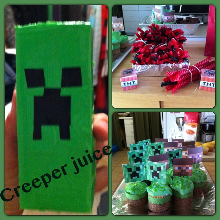 Minecraft party Creeper juice boxes TNT from red licorice