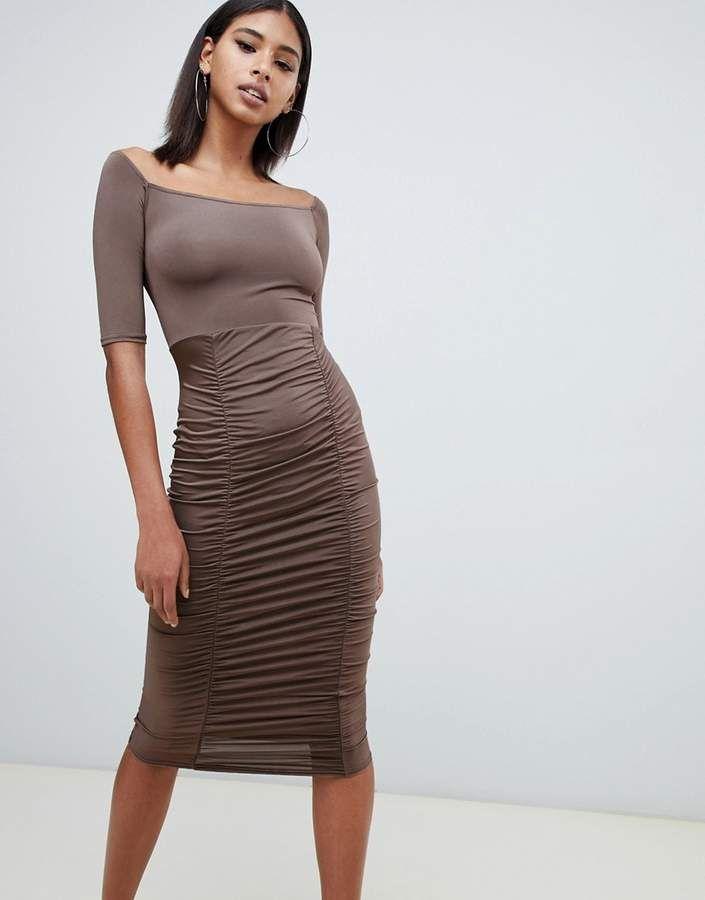 11bf48cd8067 PrettyLittleThing Prettylittlething slinky bardot ruched detail midi  dress  in chocolate!