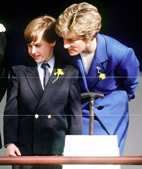 Prince William and Princess Diana at William's first official engagement in Cardiff, England, March 1991.