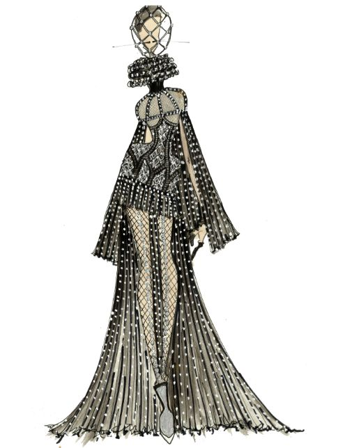 stylised fashion drawing of an Alexander McQueen couture gown -J.Larkowsky