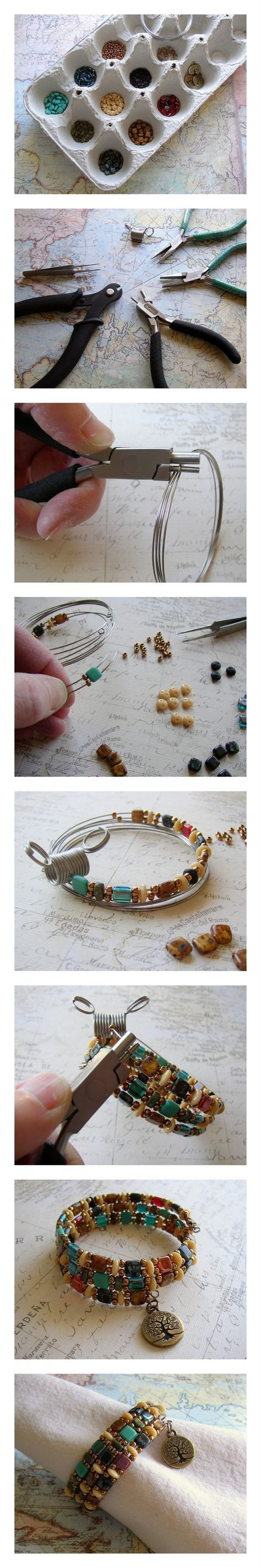 DIY Beaded Bracelet! Use memory wire, Czechmates two-hole beads, and a TierraCast charm to make this easy jewelry project. Free instructions on Rings & Things jewelry making blog.
