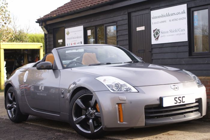 Nissan 350Z 3.5 V6 313 GT 2dr Convertible Petrol Twilight Grey for sale at Simon Shield Cars Ltd. Bose sound system, Brembo brakes, Nismo alloy wheels with Michellin Supersport tyres. See more at http://www.simonshieldcars.co.uk/used/nissan/350z/35-v6-313-gt-2dr/ipswich/suffolk/17582862