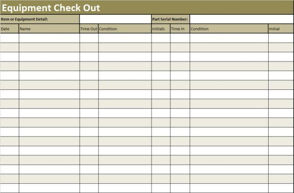 equipment checkout template