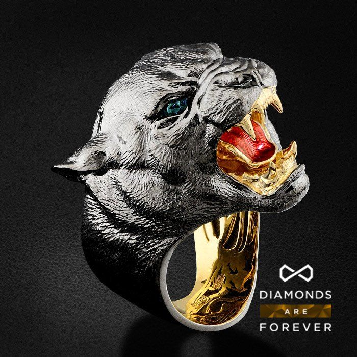 Мужское кольцо Пантера с турмалинами и горячей эмалью в ...