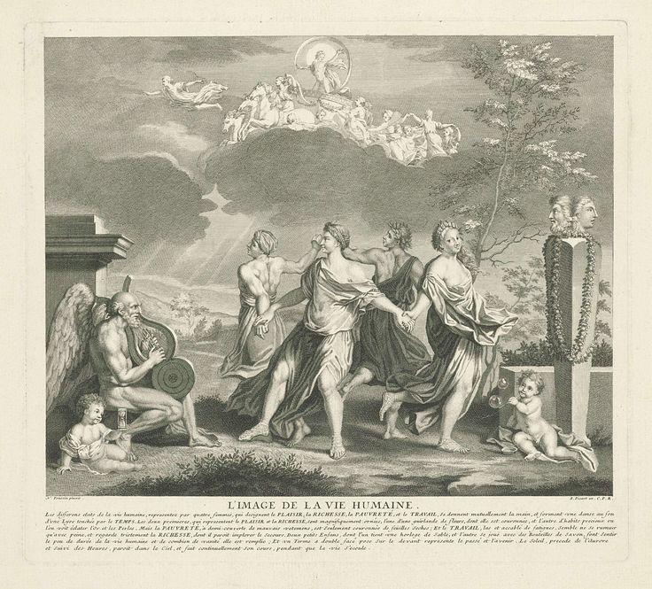 Bernard Picart | Allegorie op de levensfases van de mens, Bernard Picart, Lodewijk XIV (koning van Frankrijk), 1693 - 1710 | Landschap met vier dansende vrouwen die het genoegen, de rijkdom, de armoede en de arbeid personifiëren. Links Vader Tijd die de lier bespeelt en een putto met een zandloper. Rechts een Januskop en een putto die bellen blaast. Aan de hemel Apollo in de zonnewagen, voortgetrokken door vier paarden, en voorgegaan door Aurora. In de marge een zesregelig onderschrift in…