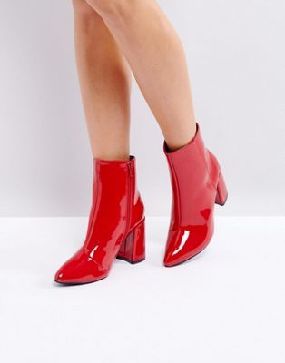 Glamorous Red Vinyl Effect Pointed Heeled Ankle Boots