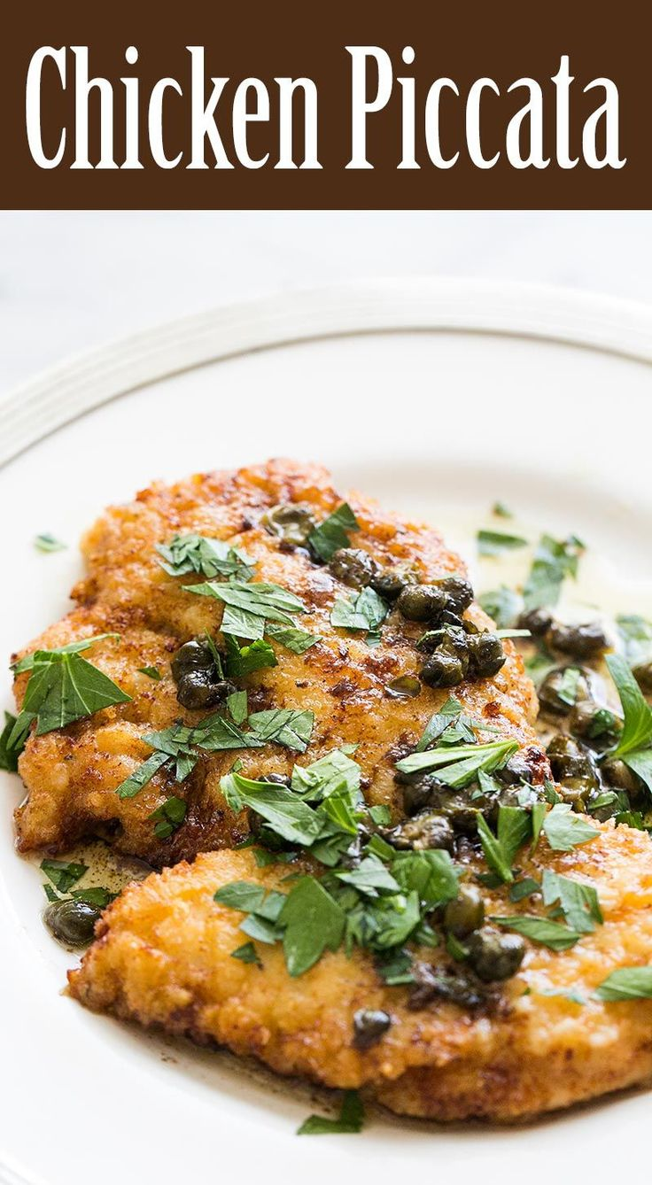 Easy Chicken Piccata! Takes only 20 minutes to make. Chicken breast cutlets, dredged in flour, browned, served with sauce of butter, lemon juice, capers, and stock or wine. One pot. On SimplyRecipes.com