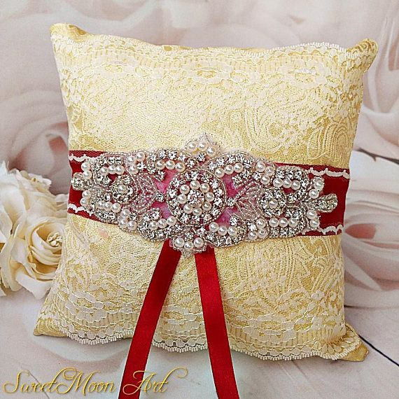 Lace ring pillow burgundy ring pillow gold wedding pillow
