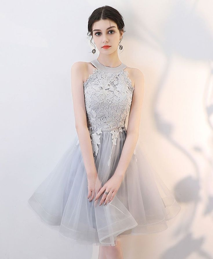 2021 gray lace tulle short prom dress gray tulle lace