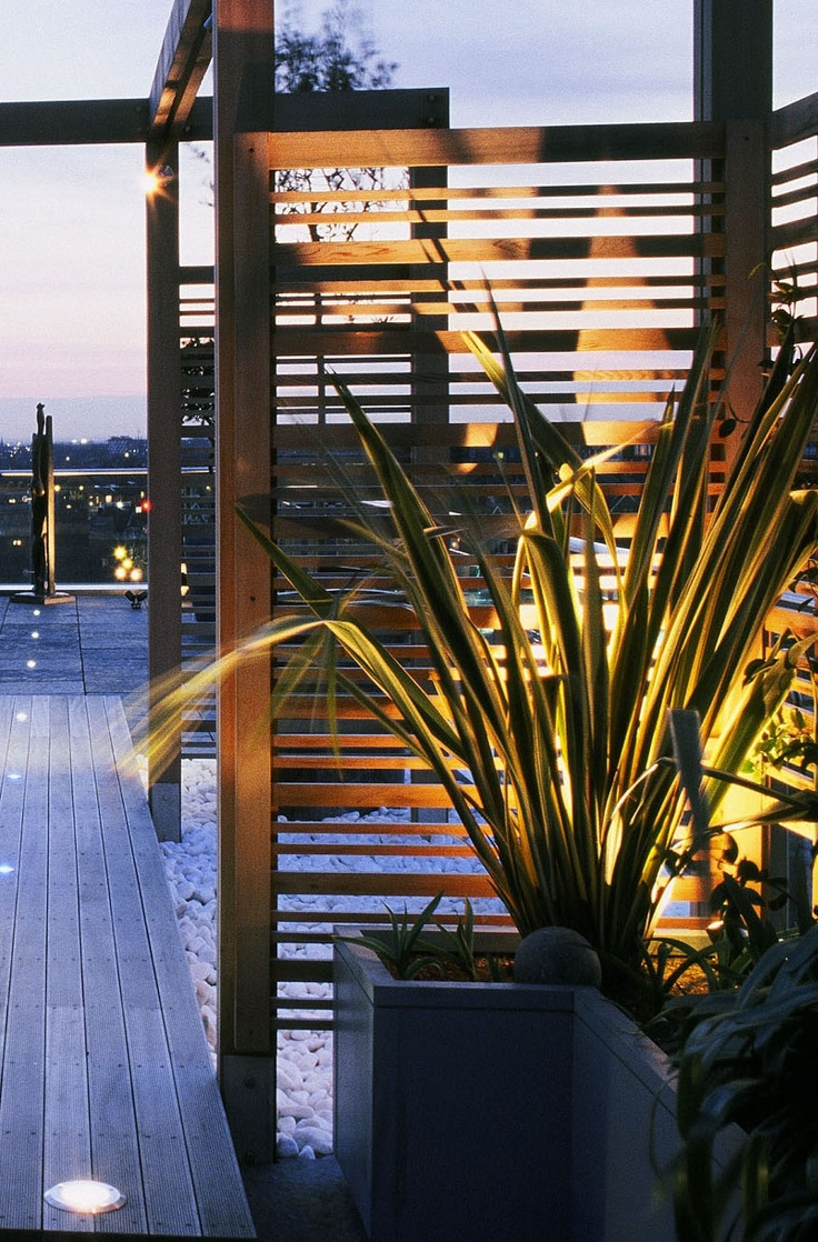 Great outdoor area with timber decking, screening and nice lighting to enhance the space #inspiration #Ekodeck #Ekoscreen