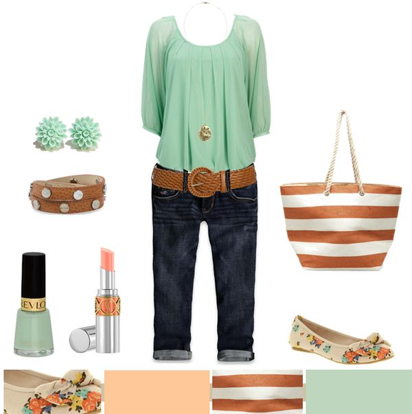 ...: Mint Floral Tops Outfit, Mint Green Outfit, Summer Outfit, Color Combos, Floral Stripes, Mint Color, Like Summer, Like Stripes, Like Outfit
