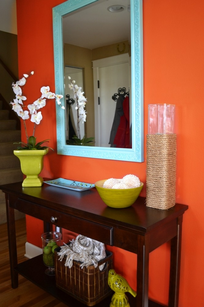 kitchen orange accent wall - Google Search