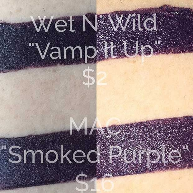 MAC Smoked Purple Lipstick dupe > Wet N Wild Vamp it up lipstick