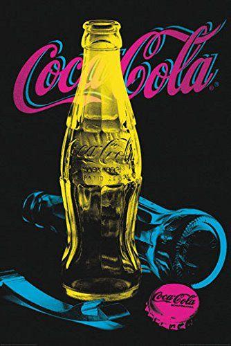 Cadres & cadres Cocacola HB-Coca Cola poster Tableau imprimé en bois sur bois contour noir: DIMENSIONS 60 x 90 cm PANNEAU 6MM + CHASSIS…