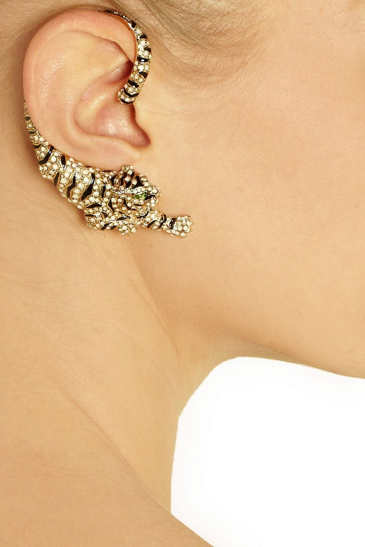 Roberto Cavalli | Gold-plated Swarovski crystal cuff-style tiger earrings @}-,-;-- WANT