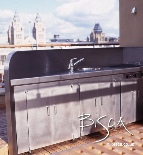 Stainless Steel Outdoor Kitchen On Rooftop Garden Of London Penthouse