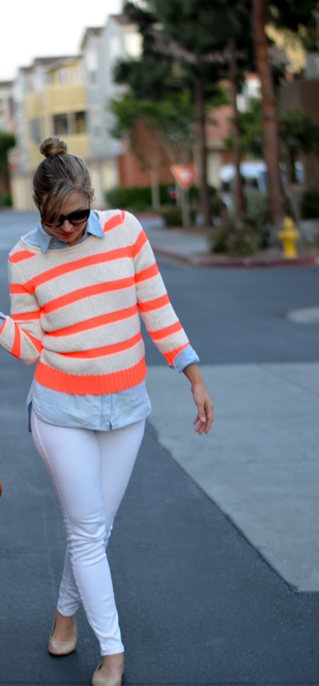 I'd Absolutely Love To...: wear this: neon striped sweater