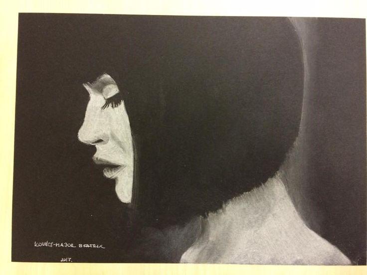pasztell portré - feketén fehér pasztell - Kovács-Major Beatrix rajza