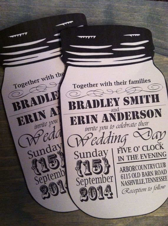 Vintage style mason jar wedding invitations by SomeSweetPickles, $2.00