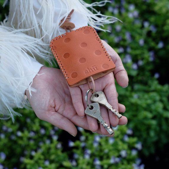 Leather Polkadot Key Holder key bag key case by ShuLeatherWorks