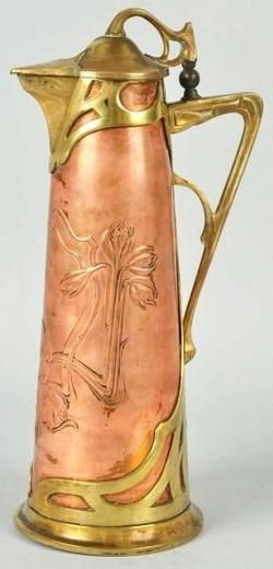 Tableware; Art Nouveau, Pitcher, Copper & Brass, Floral Motif, 14 inch.