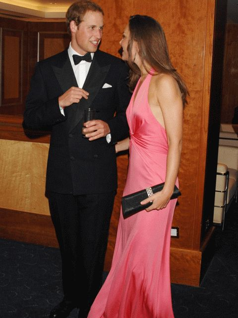 2008  Prince William and Kate Middleton got their gladrags on for the Boodles Boxing Ball in aid of The Starlight Children's Foundation in the summer of 2008 - a rare public appearance. The happy couple both looked ultra-stylish, with Wills looking dapper in a traditional black tux, and Kate shining in a stunning, slinky coral halterneck.