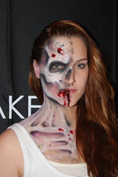 half skull face by the wolfe brothers halloween - Skull Face Painting Ideas For Halloween