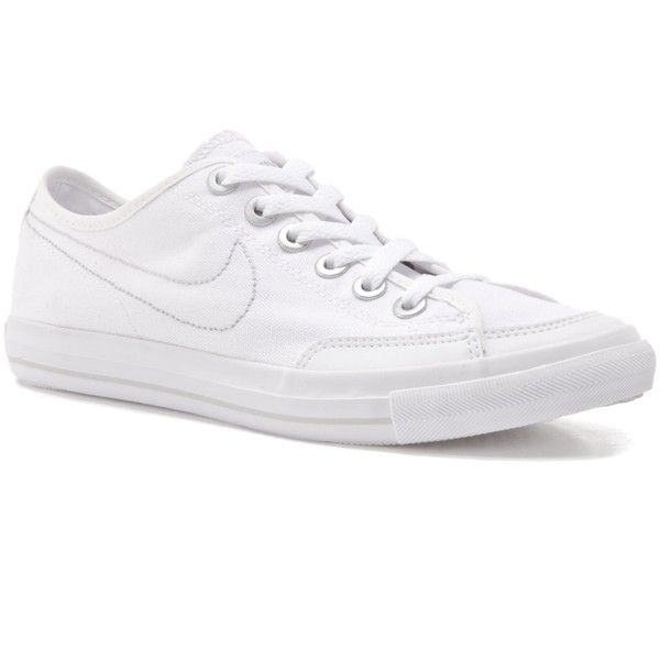 Nike Women's Go Canvas Sneaker - White (90.075 COP) ❤ liked on Polyvore featuring shoes, sneakers, zapatos, sapatos, zapatillas, nike, lightweight sneakers, white trainers, nike trainers and plimsoll sneakers