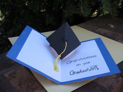 handmade graduation card from CornerstoneLAE ... inside view of pop-up mortar board complete with tassel ...