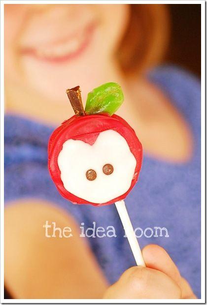 Back to School Apple Pops...cute idea for a classroom treat
