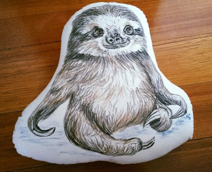 Sloth - hand-drawn cushion - Mummy Cuggles