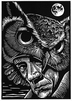 "Marc Snyder's eight linocuts for Noel Sloboda's ""Our Rarer Monsters"", a  book of poetry to be published in 2012 by Sunnyoutside Press."