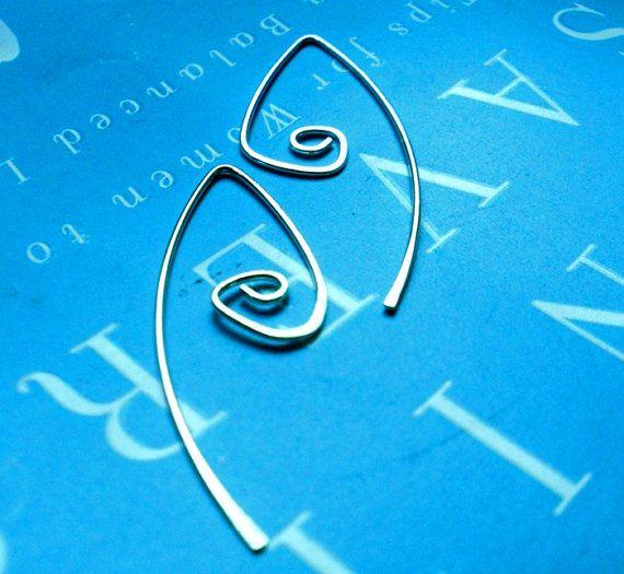 Rustic Silver Spiral Teardrop Wishbone Open Hoop by TheLovelySmith, $20.00