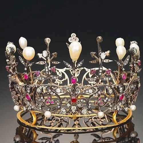 Victorian Pearl, Diamond & Ruby Crown