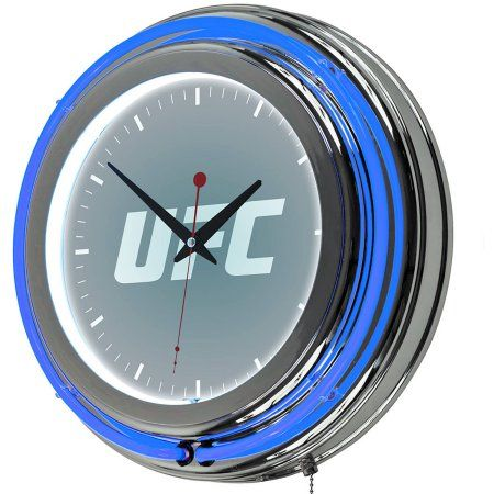 UFC Chrome Double Ring Neon Clock, Version 1, Silver