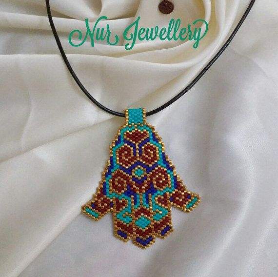 10% Sale Charming Blue Hamsa Hand of Fatima Necklace - Peyote Beaded Ethnic Pendant- Peyote Triangle Against Bad Luck Evil Eye
