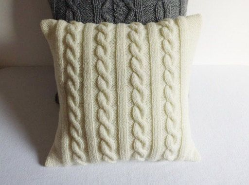 Ivory cable knit pillow cover hand knit cushion by Adorablewares